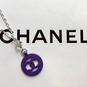 Chanel Purple Circular Logo Necklace (Rare Color)